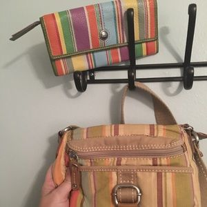 Fossil brand crossbody purse and wallet